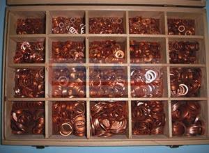 estuche arandelas de cobre